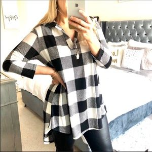 Black & White Buffalo Plaid Tunic Top